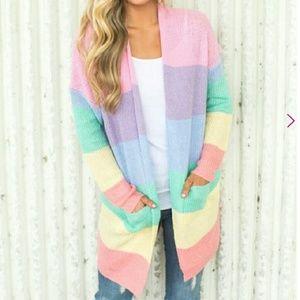 Jackets & Blazers - Rainbow Striped Cardigan size S/M
